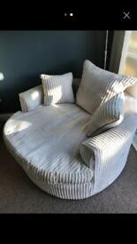 Cream cuddler swivel chair chunky cord fabric