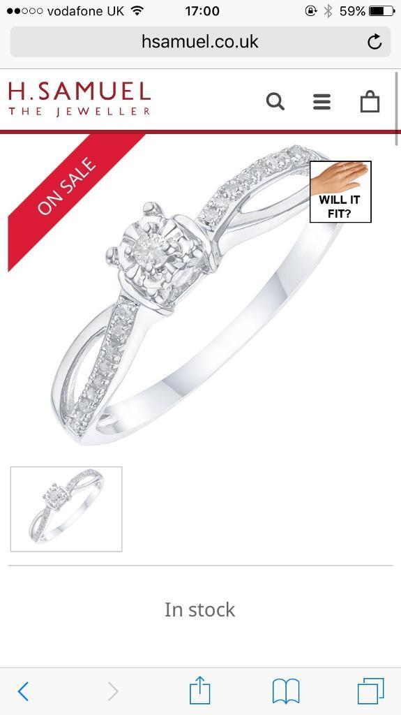 9ct white gold diamond solitaire ring PAID £249