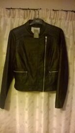 ladies leather coats brandnew never been worn cost £90 size 14 one black one blue