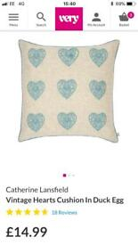 Catherine Lansfield cushions X2 duckegg excellent condition