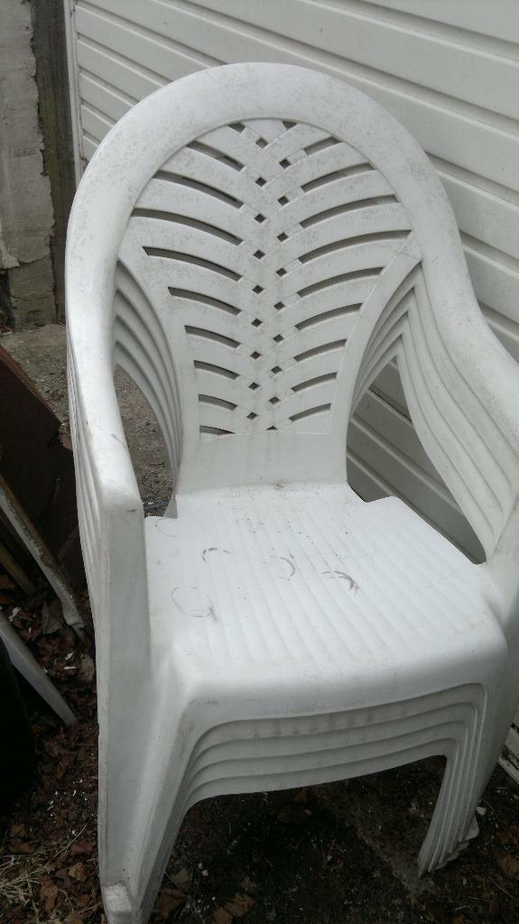 White High Back Garden Chairs Plastic In Childwall