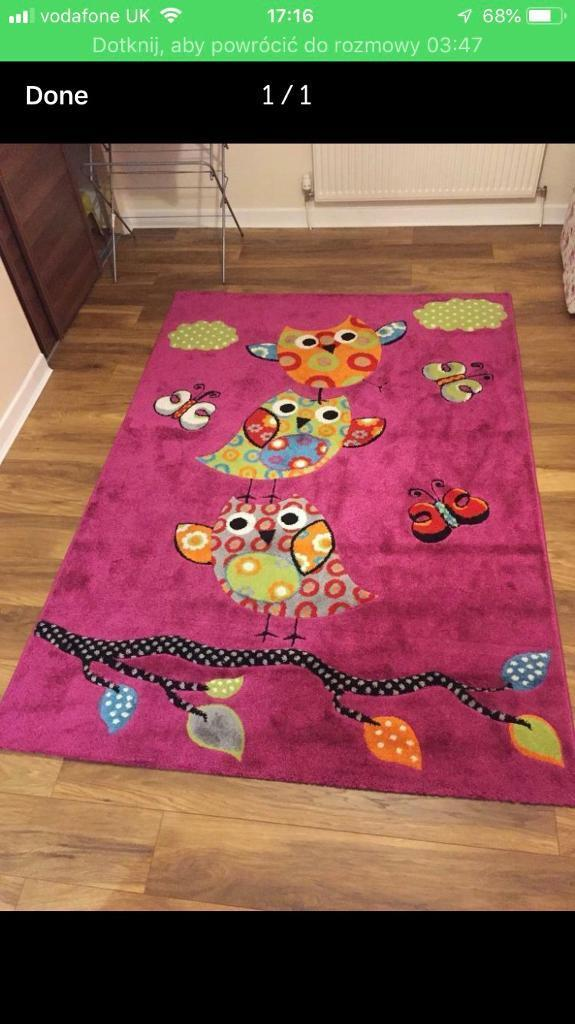 Children Dark Pink Owl Carpet Rug In