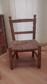 Old Antique Rush seat childs country chair