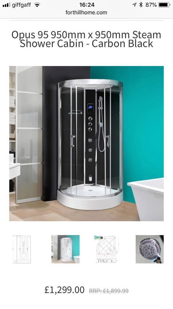 Opus full steam shower spa cabin in black brand new sealed in box ...