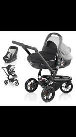 Jane Trider Pushchair + Transporter carry cot / Pram + Carseat + Isofix + footmuff + Rain covers