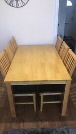 Genuine Oak dining table and chairs in excellent condition