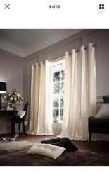 Cream faux fur curtains - 90x90 inch