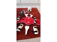 Taekwondo protective gear: breast shield: size 3, helmet, armshields: size S, legshields size S, pad