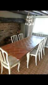 French Antique Table and 6 Chairs