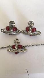 Vivienne Westwood Heart Orb Earrings And Bracelet Red/Silver