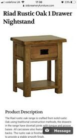 Solid oak 1 drawer nightstand, bedside table