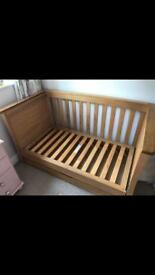 Solid oak Mamas and Papas ocean cot bed with cot top changer