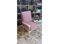 Vintage chair; newly re-upholstered in Moon wool fabric