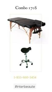 Duo Table de massage et Tabouret selle 169$ NEUF