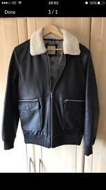 Mens black leather shearling jacket Large