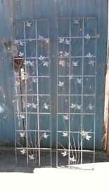 Wrought Iron Galvanized Wall Trellis Decorative Ivy Leaves