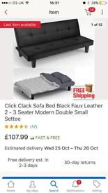 Small leather click clack sofa bed