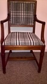 Solid oak upholstered chair