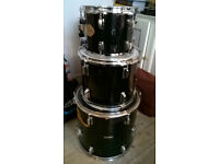 3 Black Toms for Jazz/Jungle kit plus tom holders