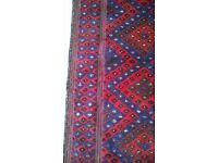 Antique Red & Blue Oriental Runner (10 ft x 2.2 ft)