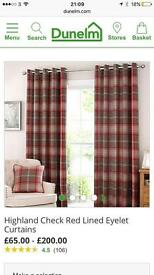 Red tartan curtains, fully lined, eyelets, 116x182cm
