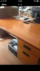 Solid wood office desk with 2 side drawers attached