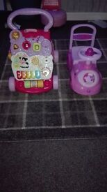 Peppa pig ride on push car & vtech learn to walk
