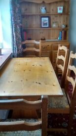 Pine Refectory Table with 4 Ladder Back Chairs