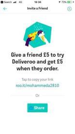 Deliveroo £5 off code!