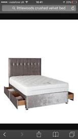 Gold crushed velvet double bed