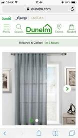 Dunelm grey net curtain & extendable rod pole 100cm w by 160 l