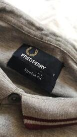 Fred Perry grey and burgundy size small