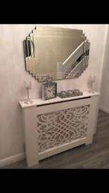 Classical white radiator cover 112x86cm