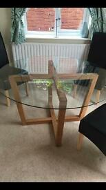 Large glass and oak round dinning table NEXT