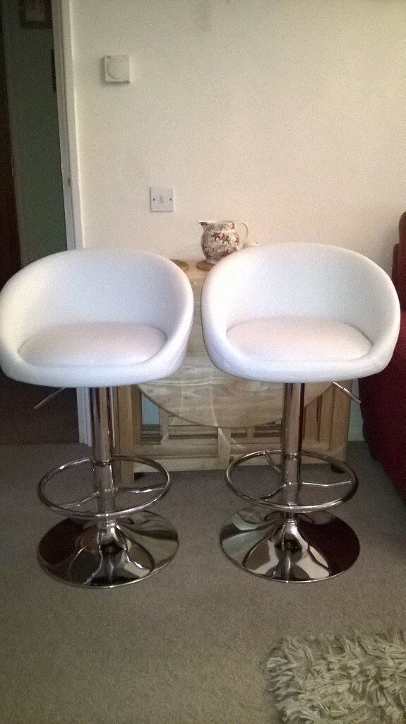 SOLD - Pair white padded & Chrome Bar Stools, gas-filled mechanism, as new.