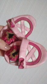 baby slippers, leather