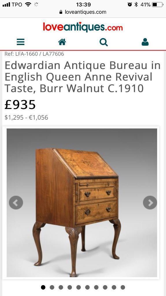 Antique Edwardian Walnut Bureau Writing Desk Ball And Claw Feet