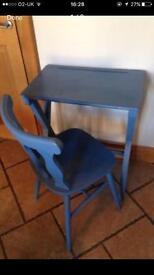 Vintage School Desk & Chair in 'Annie Sloan - blue' £50