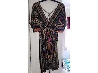 Bold Print, Tie-Back, Black Dress, Apricot - Size S (8-10)