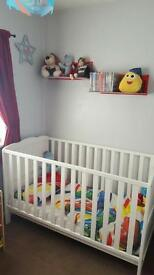 Cot bed with mattress, duvet, pillow, paw patrol bed set & cars bed set