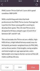 Junior ping thrive golf clubs