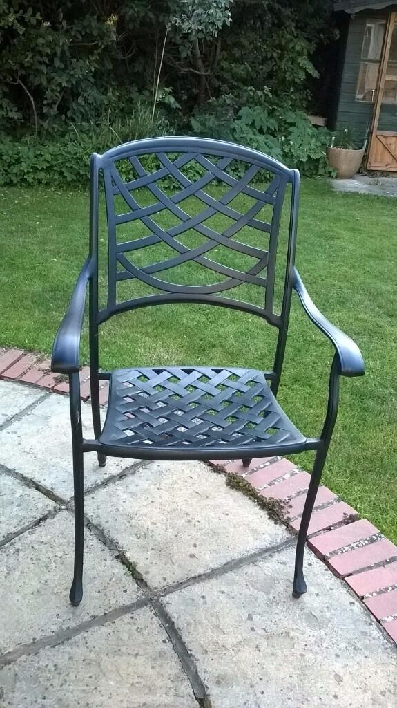 Set of Quality Cast Aluminium Garden Furniture Chairs in black. Set of Quality Cast Aluminium Garden Furniture Chairs in black
