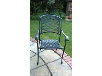 Set of Quality Cast Aluminium Garden Furniture Chairs in black
