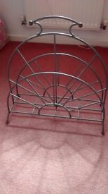 Brushed chrome double magazine rack excellent condition