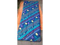 Single sleeping bag, L 178cm W 67cm apx, multi colours, opens out, good condition, zip, poly/cotton