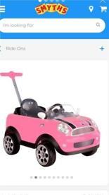 Mini Cooper push buggy - pink