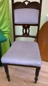 A set of 4 Antique Edwaridian chairs, upholstered seats