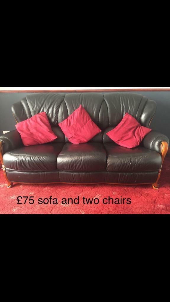 Brilliant Black Three Seater Sofa And Two Chairs S21 In Killamarsh South Yorkshire Gumtree Gmtry Best Dining Table And Chair Ideas Images Gmtryco