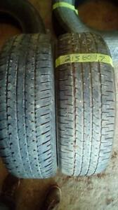 Two Firestone 215 60 17 M+S tires