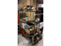 Stainless steel wheeled unit with separate shelving on top central London bargain